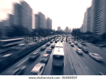 Morning, a busy highway - stock photo