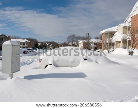Morning after two days of snowfalls - stock photo