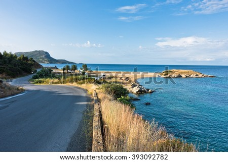 Morning at campers favorite site for summer vacations, near Destenika, Sithonia, Greece - stock photo