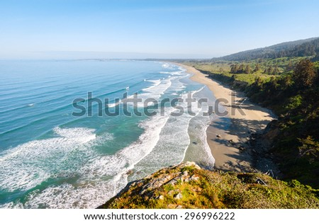 Morning at the Beach at Redwood National Park - stock photo