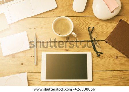 morning at the office - stock photo