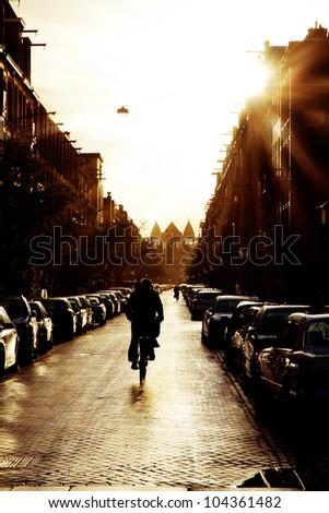 Morning bicycle street - stock photo