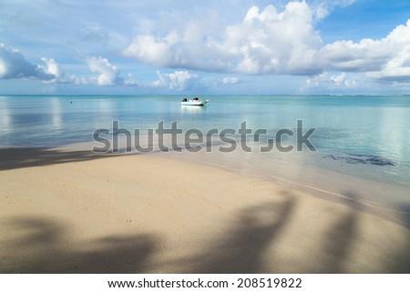 Morning boat at Idyllic scene of travel destination - stock photo