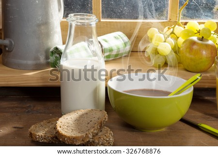 Morning breakfast with milk bread, fruit, orange juice