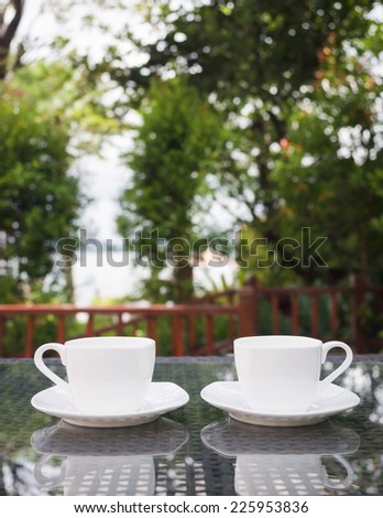 morning coffee terrace  at cafe  in garden