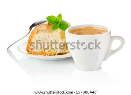 morning coffee with apple biscuit and a leaf of mint isolated on white background - stock photo