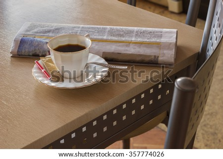 Morning coffee with newspaper. In kitchen