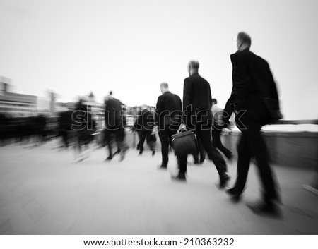 Morning commuters of London - stock photo