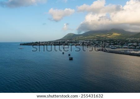 Morning dawns on Basseterre Bay, St. Kitts - stock photo
