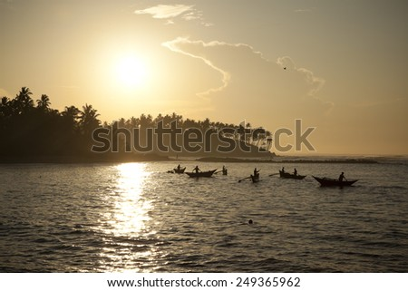 Morning fishing on the sea - stock photo