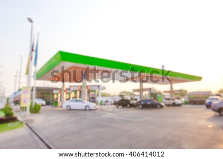 morning fueling station,Out of focus background - stock photo