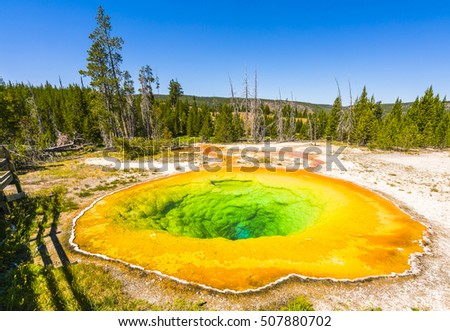 Morning Glory Pool  geyser  in the morning,Yellowstone National park,Wyoming.usa.
