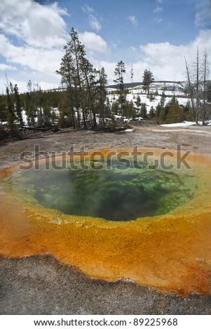 Morning Glory Pool, Yellowstone National Park - stock photo