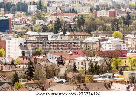 Morning High View Of Cluj Napoca City, Romania. - stock photo