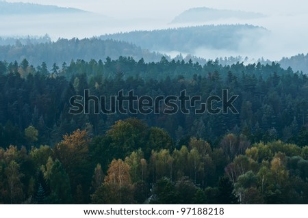 Morning in a beautiful mountains of Czech-Saxony Switzerland.