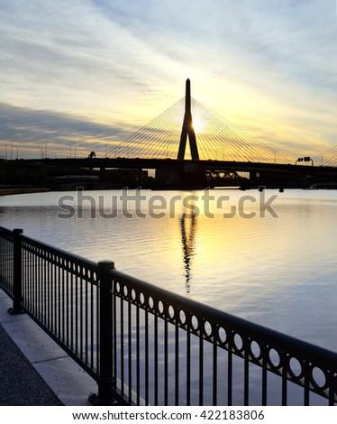 Morning in Boston. Zakim bridge reflected on the Charles - stock photo
