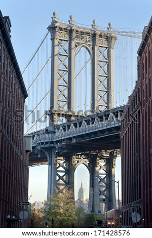 Morning in Brooklyn by the East river and view of the Manhattan bridge from Washington street, New York City - stock photo