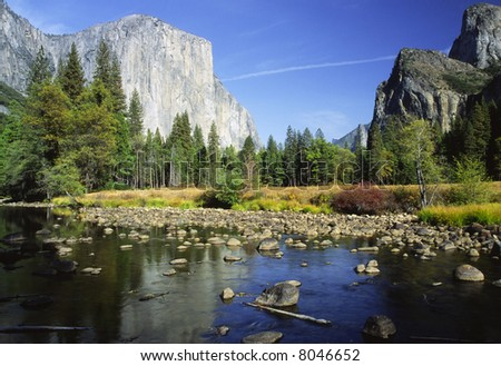Morning in Yosemite Valley with El Capitan reflecting in Merced River