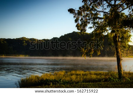 Morning Lake Fog - stock photo