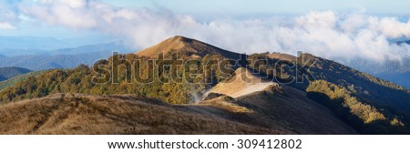 Morning landscape in the autumn. The mountain panorama. Carpathians, Ukraine, Europe