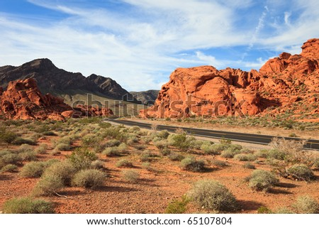Morning landscape in the Valley of Fire, Nevada. - stock photo