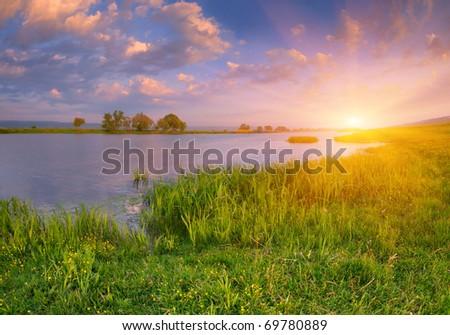 Morning landscape near the river. Sunrise - stock photo