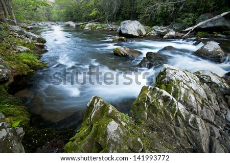 Morning light on the Little River, Great Smoky Mountains National Park, Tennessee. - stock photo