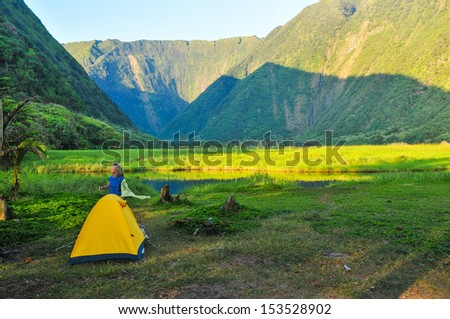 morning light on the waimanu valley, hawai'i - stock photo