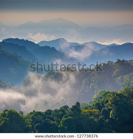 Morning Mist at Tropical Mountain Range,This place is in the Kaeng Krachan national park,Thailand - stock photo