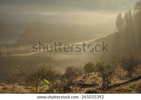 Morning mist in the mountains - stock photo