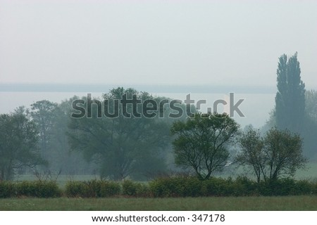 Morning mist in the Ruhr valley. - stock photo