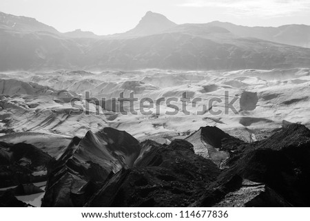 Morning mist over a glacier, Svinafellsjokull, Iceland - stock photo