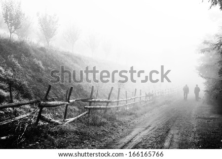 Morning mountain landscape black and white  - stock photo