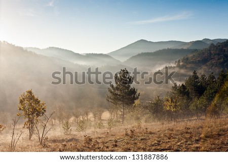Morning mountain with fog - stock photo
