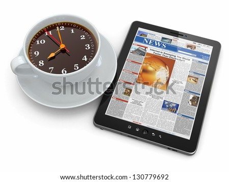 Morning news. Tablet pc  and clock as cup of coffee. 3d - stock photo
