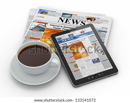 Morning news. Tablet pc, newspaper and cup of coffee. 3d - stock photo