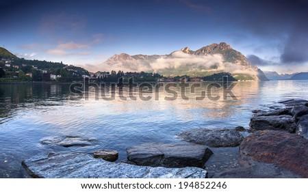 Morning on Lake Lecco. Lecco, Italy, Europe. - stock photo