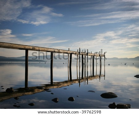 Morning on Lake Tahoe, Tahoe City, California - stock photo