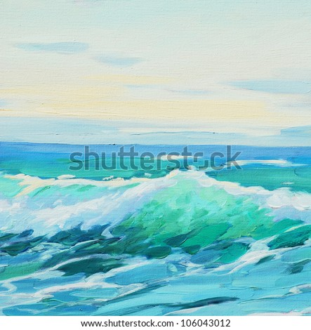 morning on mediterranean sea, wave,  illustration, painting by oil on a canvas - stock photo