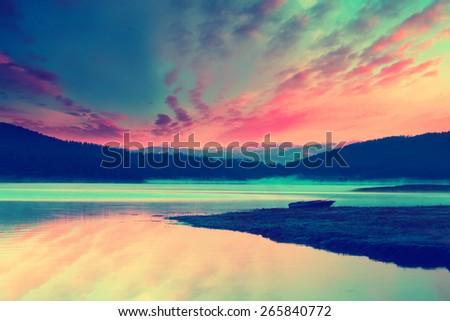 morning on the lake, fantasy infrared filtered image  - stock photo