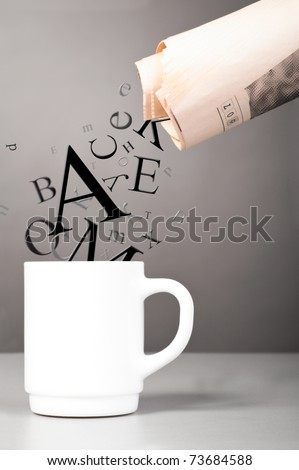 morning portion of information. Letters are flowing down to morning cup of coffee at office - stock photo