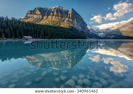 Morning reflection at Lake Louise,Alberta, Canada - stock photo