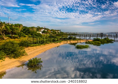 Morning reflections at Salt Run, in St. Augustine Beach, Florida. - stock photo
