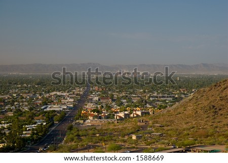 Morning Road to Uptown of Phoenix, Arizona. View from North Mountain. - stock photo
