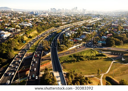 Morning rush hour from above in Brisbane coming from Gold Coast - stock photo