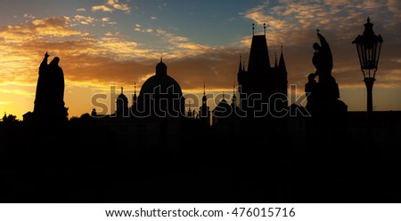 Morning Silhouettes Of Prague, Charles Bridge
