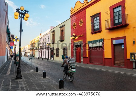 Morning streets of Puebla - the one of the five most important Spanish colonial cities in Mexico. Its history and architectural styles are very famous