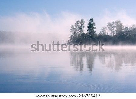 Morning summer nature misty foggy scene: forest with trees surrounded by fog (mist) and reflected on the water surface (lake, river, pond) with a blue sky as a background. - stock photo