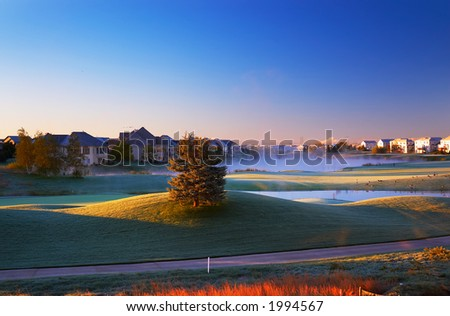 Morning sun light on golf course. More with keyword group1a