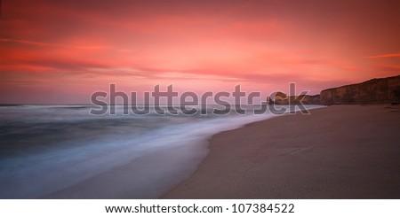 Morning Sunrise capturing Gibson Steps, Twelve Apostle beach sunrise, VIC - stock photo